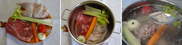 Preparazione del buon brodo di carne