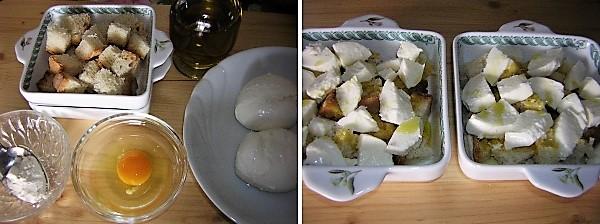 Preparazione della mozzarella al forno