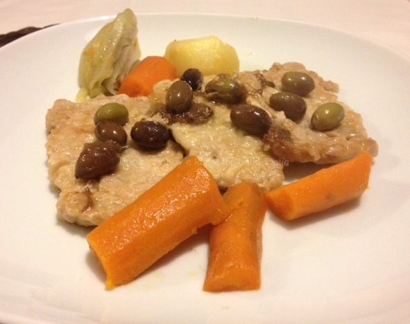 scaloppine con acciughe e olive