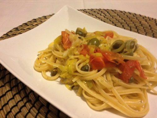 Linguine con porro e olive