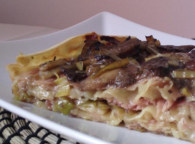 Lasagne con gorgonzola e funghi