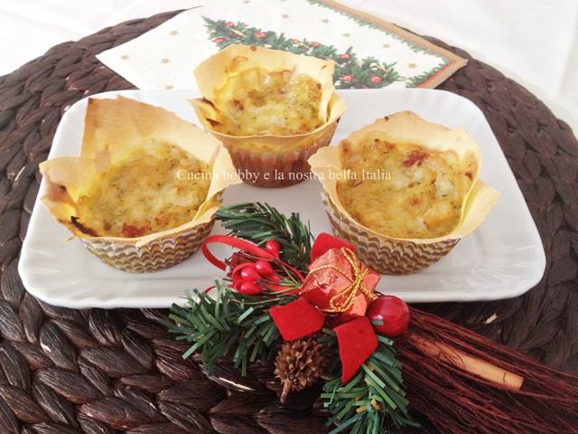 cestini di lasagne con verza e gamberetti