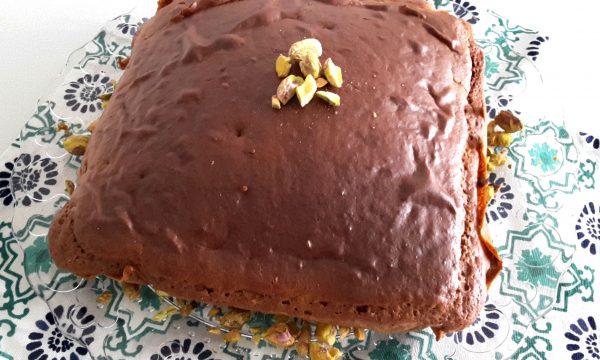 Torta al cacao e pistacchi salati
