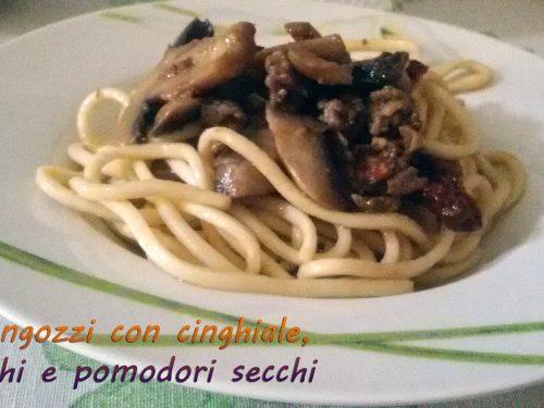 Strangozzi con cinghiale, funghi e pomodori secchi