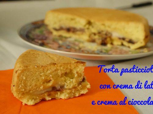 Torta pasticciotto con crema di latte e crema al cioccolato