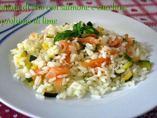 Insalata di riso con salmone e zucchine al profumo di lime