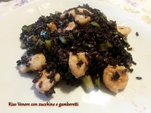 Riso Venere con Zucchine e Gamberetti
