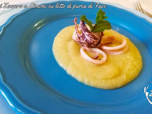 Calamari Zenzero e Limone su letto di purea di Fave