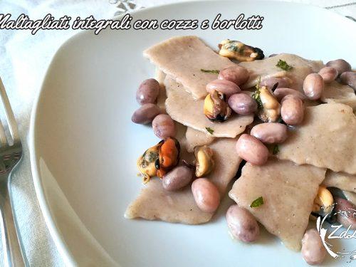 Maltagliati integrali con cozze e fagioli borlotti