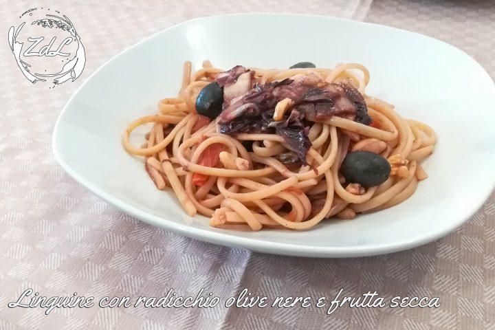 Linguine con radicchio olive nere