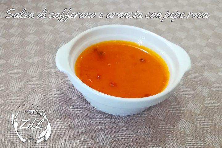 Salsa di zafferano e arancia con pepe rosa