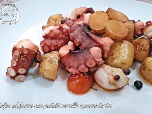 Polpo al forno con patate novelle e pomodorini