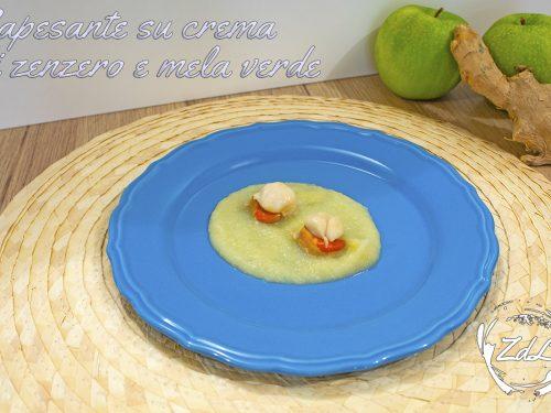 Capesante su crema di zenzero e mela verde