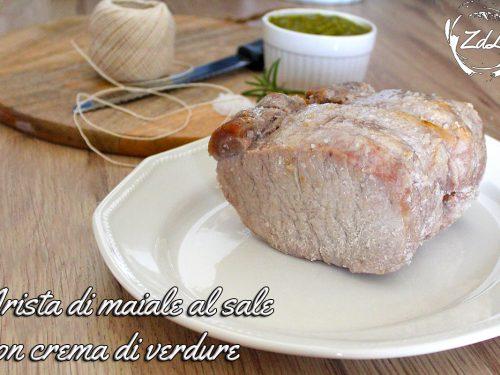 Arista di maiale al sale con crema di verdure