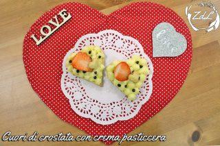Cuori di crostata con crema pasticcera