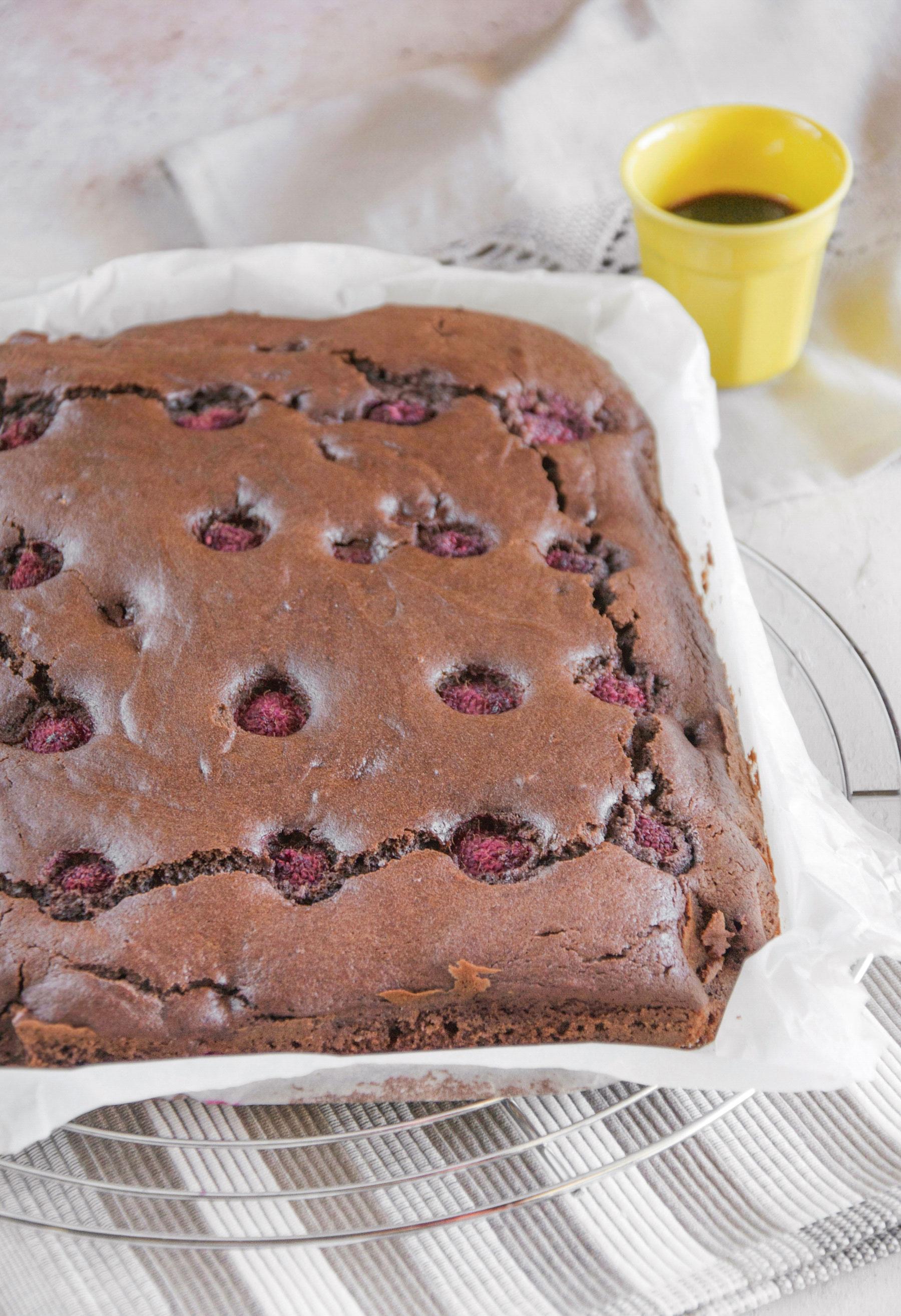 Torta soffice con cacao e lamponi ricetta facile