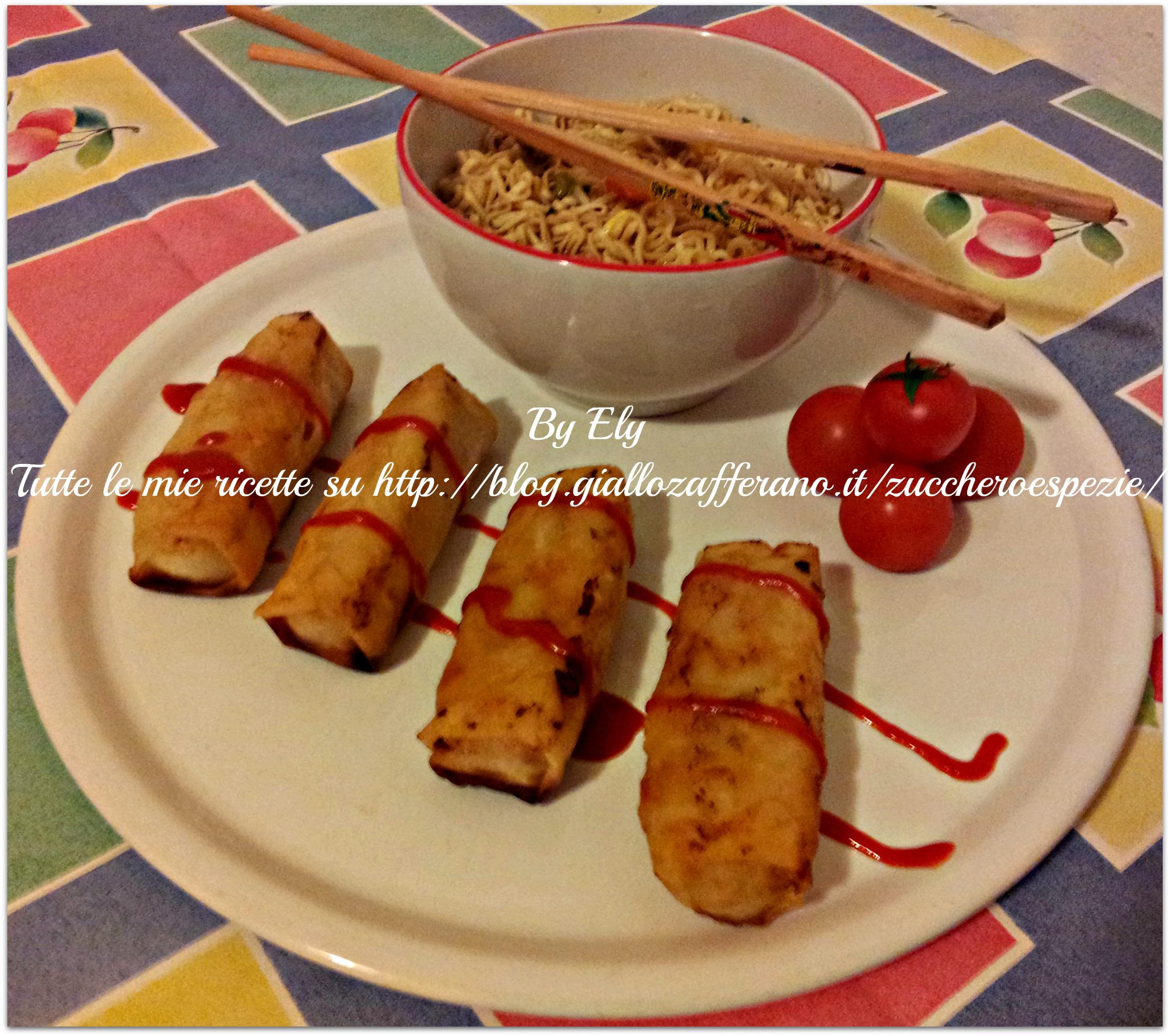 Oggi cucina nippo-cinese: Noodles e involtini primavera
