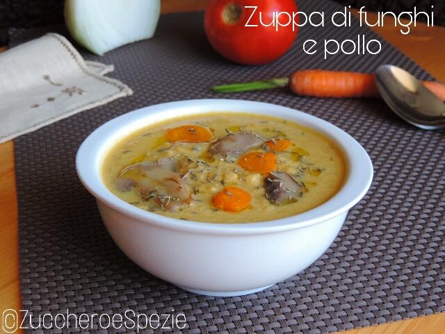 Zuppa di funghi e pollo light